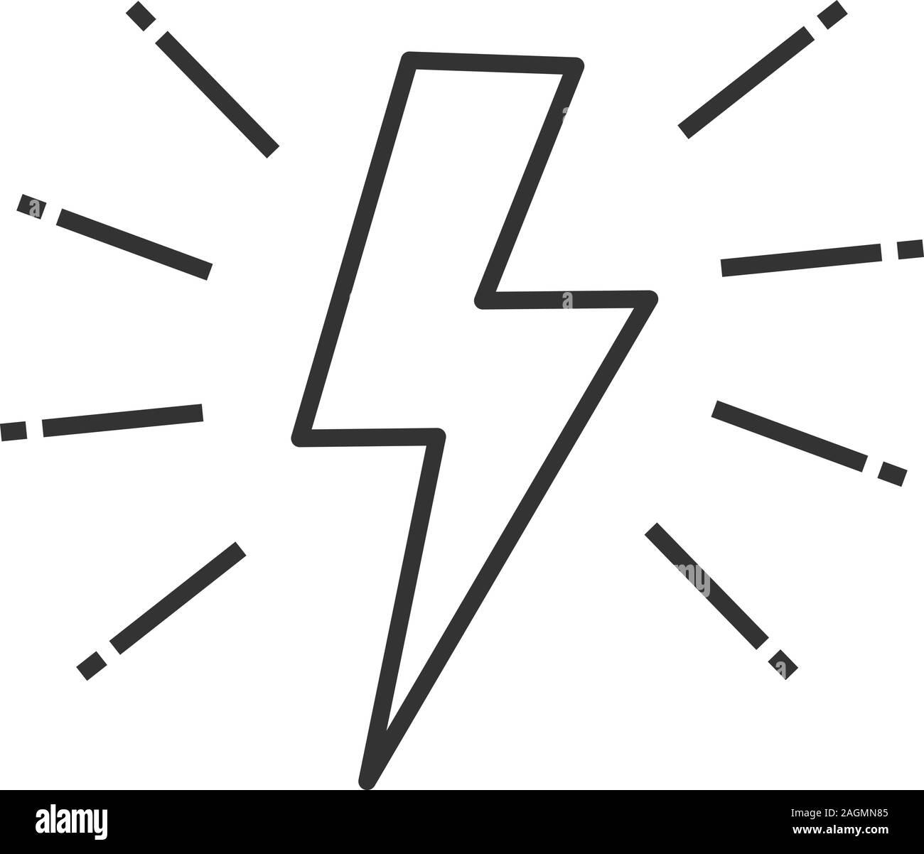 Lightning bolt linear icon. Thin line illustration. Electricity ...