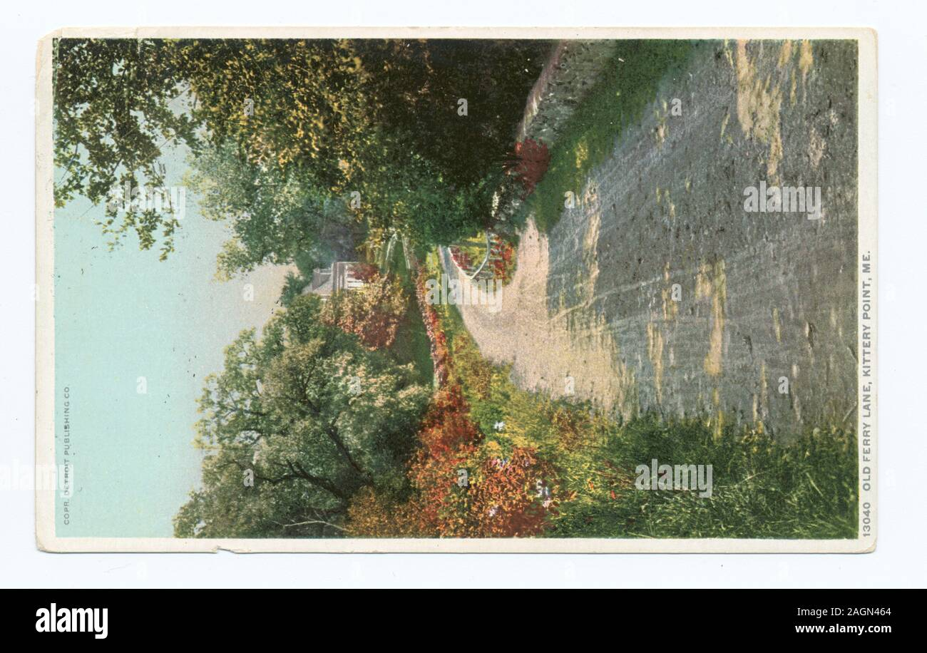 Postcard series number: 13040 Last series published primarily from company-owned or company-commissioned images.; Old Ferry Lane, Kittery Point, Me. Stock Photo