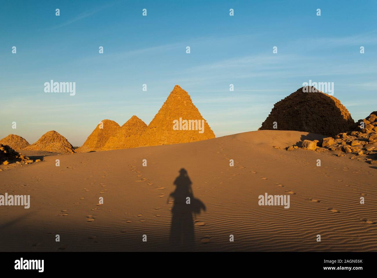 Pyramids, Royal Necropoiis, Nuri near Karima, northern Sudan Stock Photo