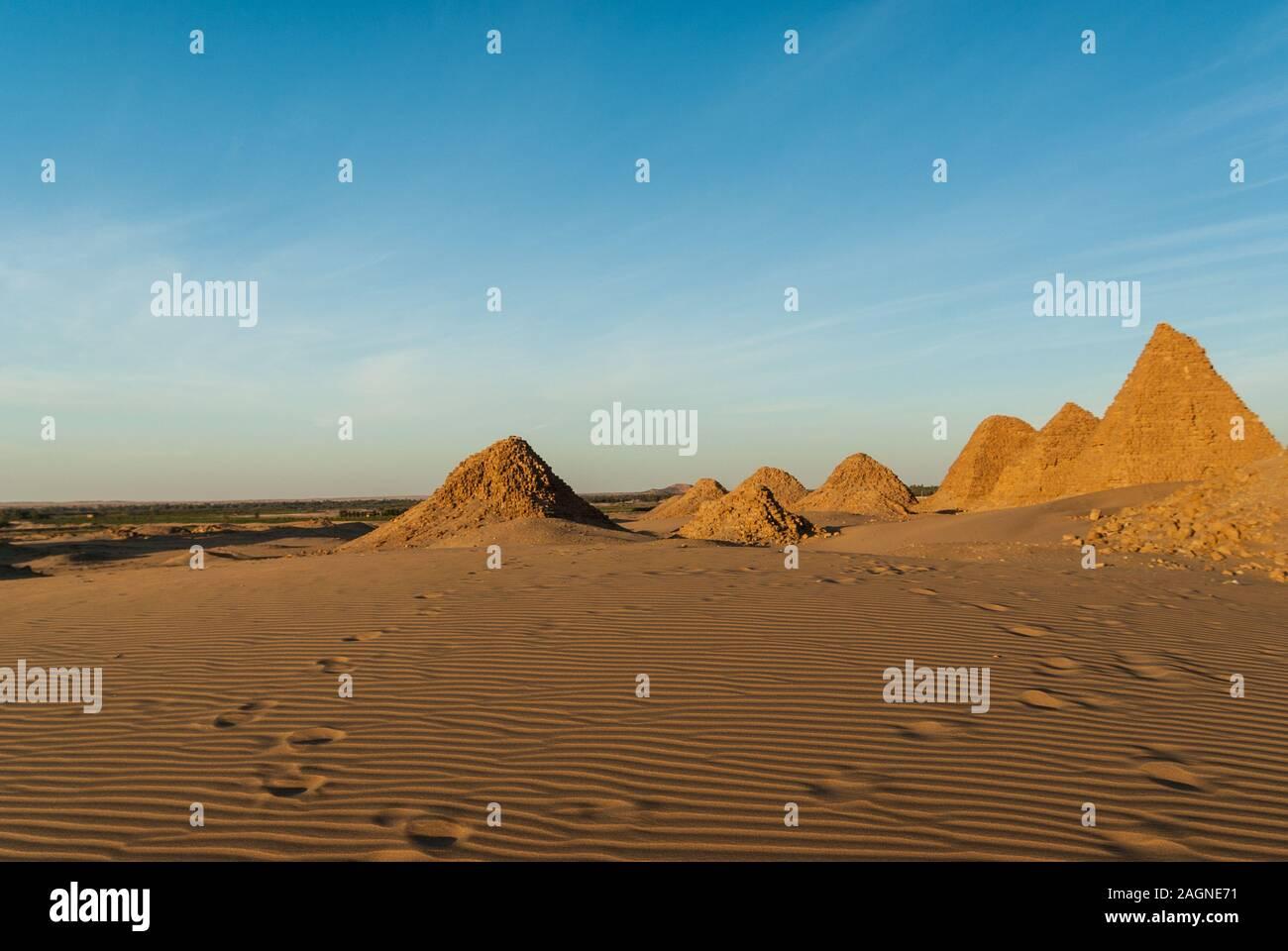 Pyramids, Royal Necropoiis, Nuri near Karima, northern Sudan Stock Photo