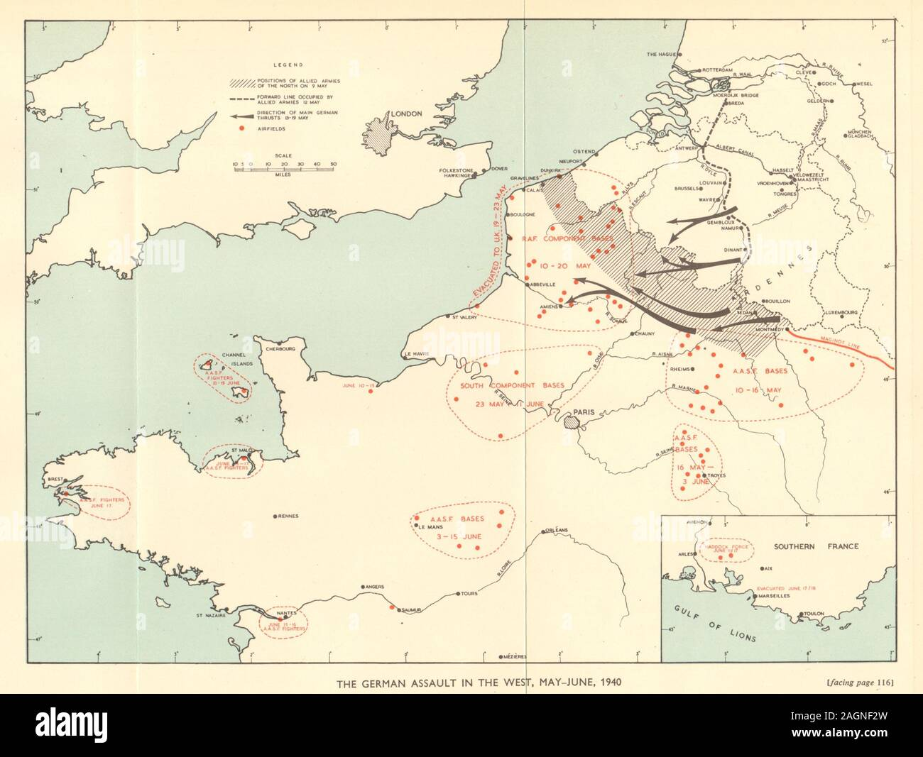 German invasion of Belgium and France, May-June 1940. World War 2 1953 old map Stock Photo