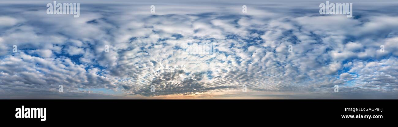 blue sky with beautiful cumulus clouds. Seamless hdri panorama 360 degrees angle view with zenith for use in 3d graphics or game development as sky do Stock Photo