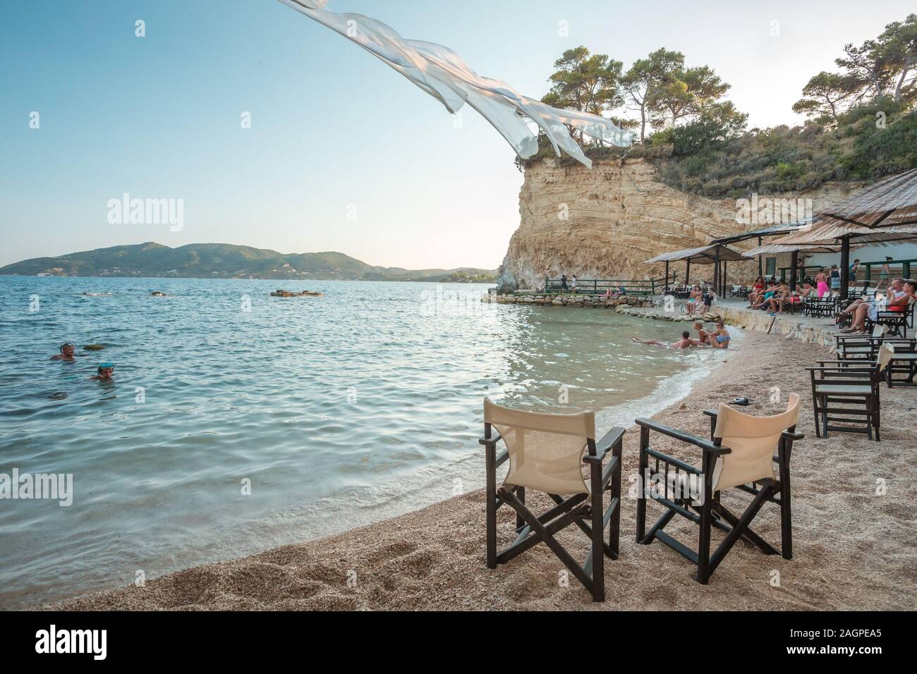 Cameo Island, Greece, August 2019, Cameo Island, private island off the shore of Laganas, Zakynthos with romantic, rope with white sheets. Famous Stock Photo