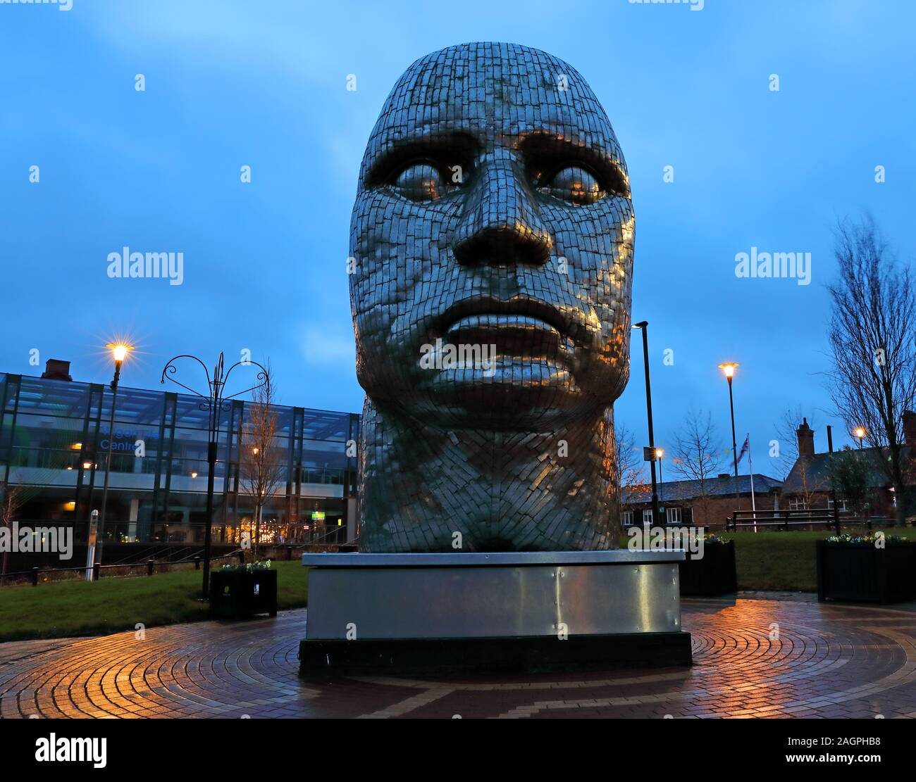 The Face Of Wigan, The Wiend, Wigan town centre, Greater Manchester, England, UK, WN1 1YB at dusk Stock Photo