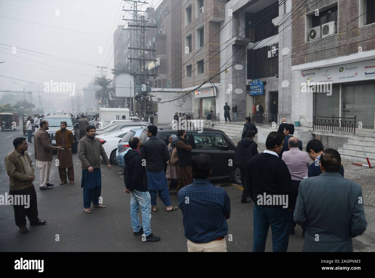 Lahore Pakistan 20th Dec 2019 Pakistani People Gather On Roads In Panic Following A Strong Earthquake
