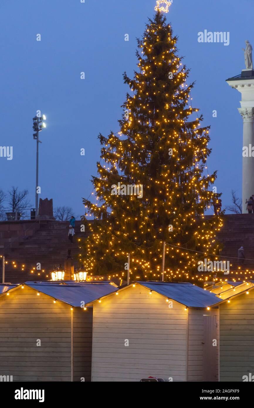 Big Christmas Tree at Senate Square in Helsinki Finland Stock Photo