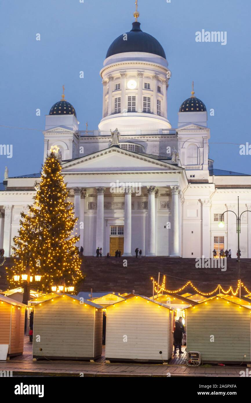 Selling Booths and Helsinki Cathedral in Helsinki Finland Stock Photo