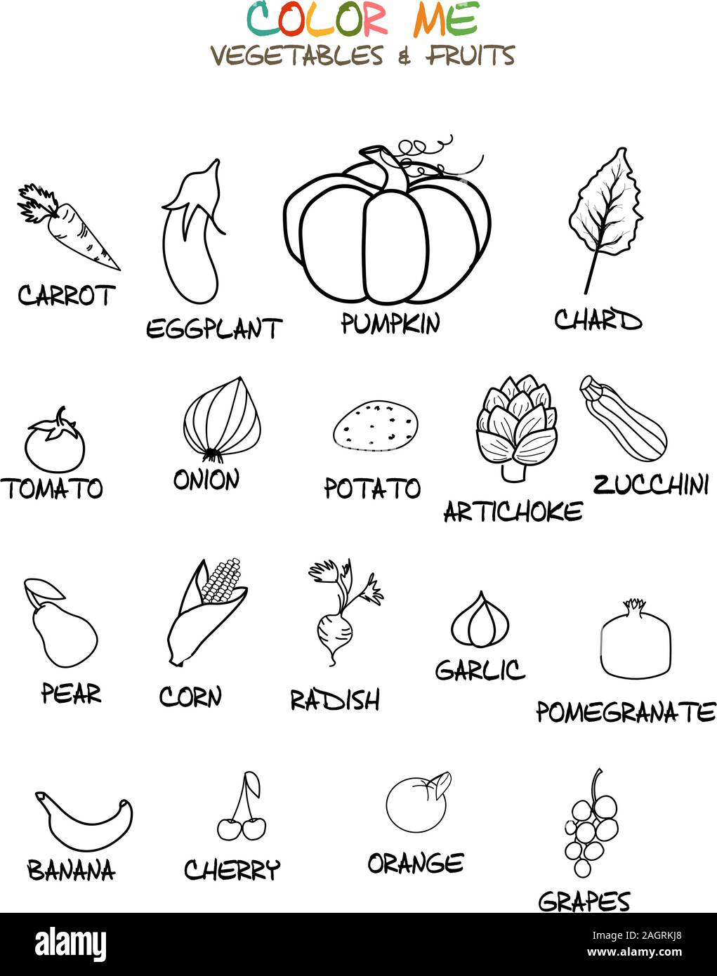 - Vegetables And Fruits Coloring Page Stock Vector Art