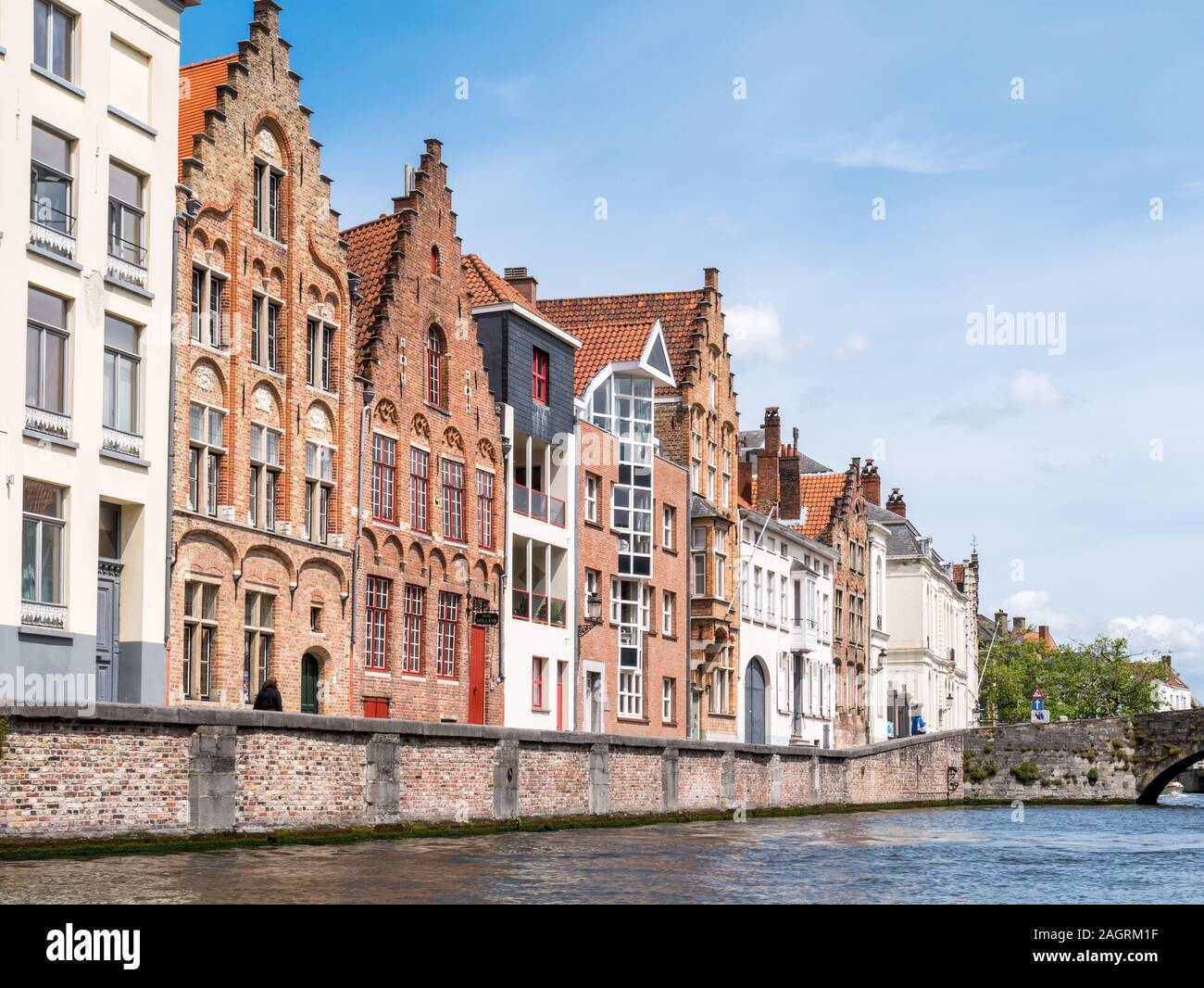 Historic old and new facades of houses along Spiegelrei canal in Bruges, Belgium Stock Photo