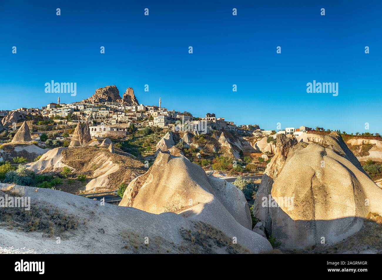 View of the Uchisar town. The cave city in Cappadocia. Turkey The perfect place to watch hot air balloons Stock Photo