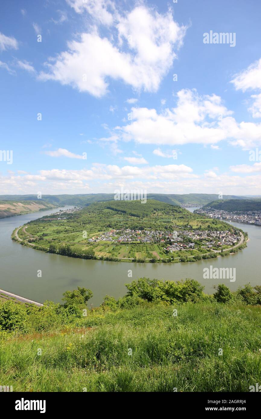 Great bow of the Rhine Valley near Boppard, Germany. Stock Photo