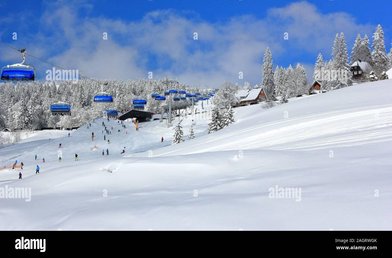 Skiing at Feldberg. Black Forest, Germany. Stock Photo