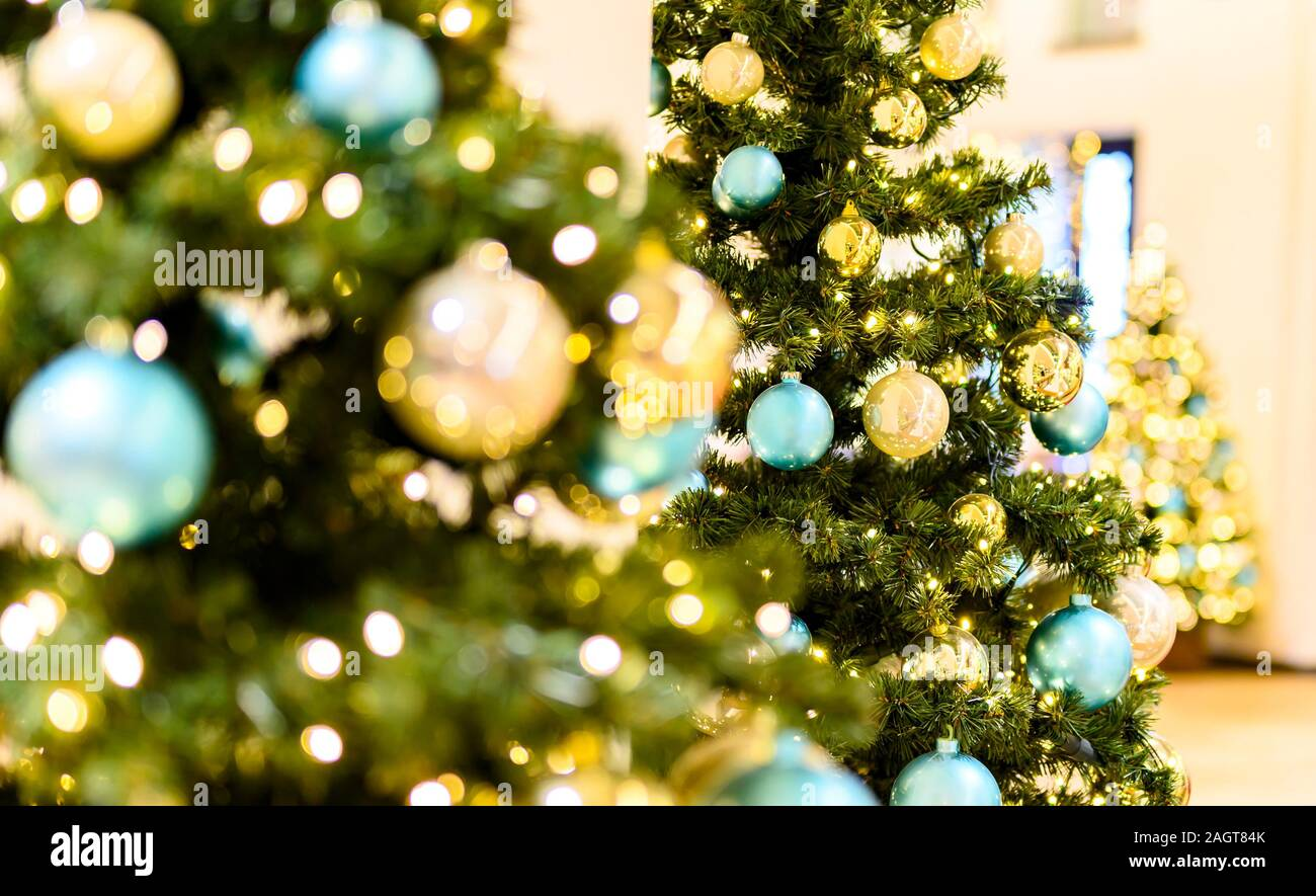 Three Christmas Trees With Golden And Turquoise Balls And Lots Of Little Lights The Focus Lies On The Tree In The Middle The Other Trees Are Blurred Stock Photo Alamy