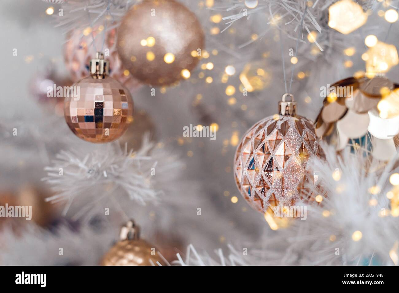 Decorated Christmas Tree With Pink And Golden Toys On White Background Christmas Concept 2020 Stock Photo Alamy