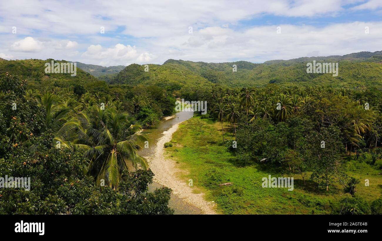 Mountains and hills are covered with evergreen forest. Beautiful landscape in the Philippines. A river in the mountains on Leyte Island, Philippines. Stock Photo