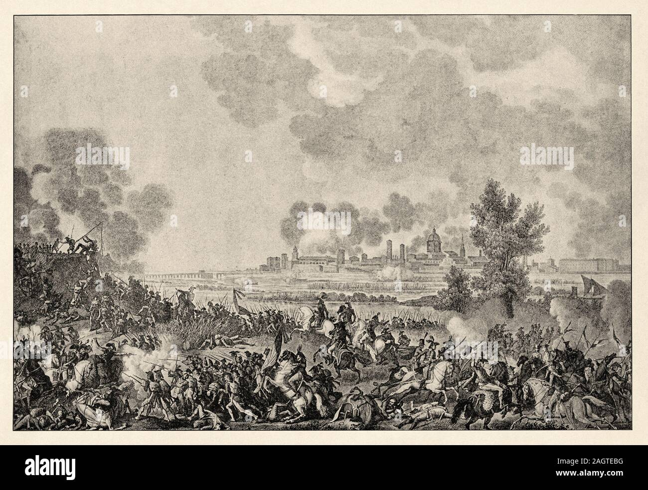 The Battle of Saint-Georges, September 15, 1796. History of France, old engraved illustration image from the book Histoire contemporaine par l'image 1 Stock Photo