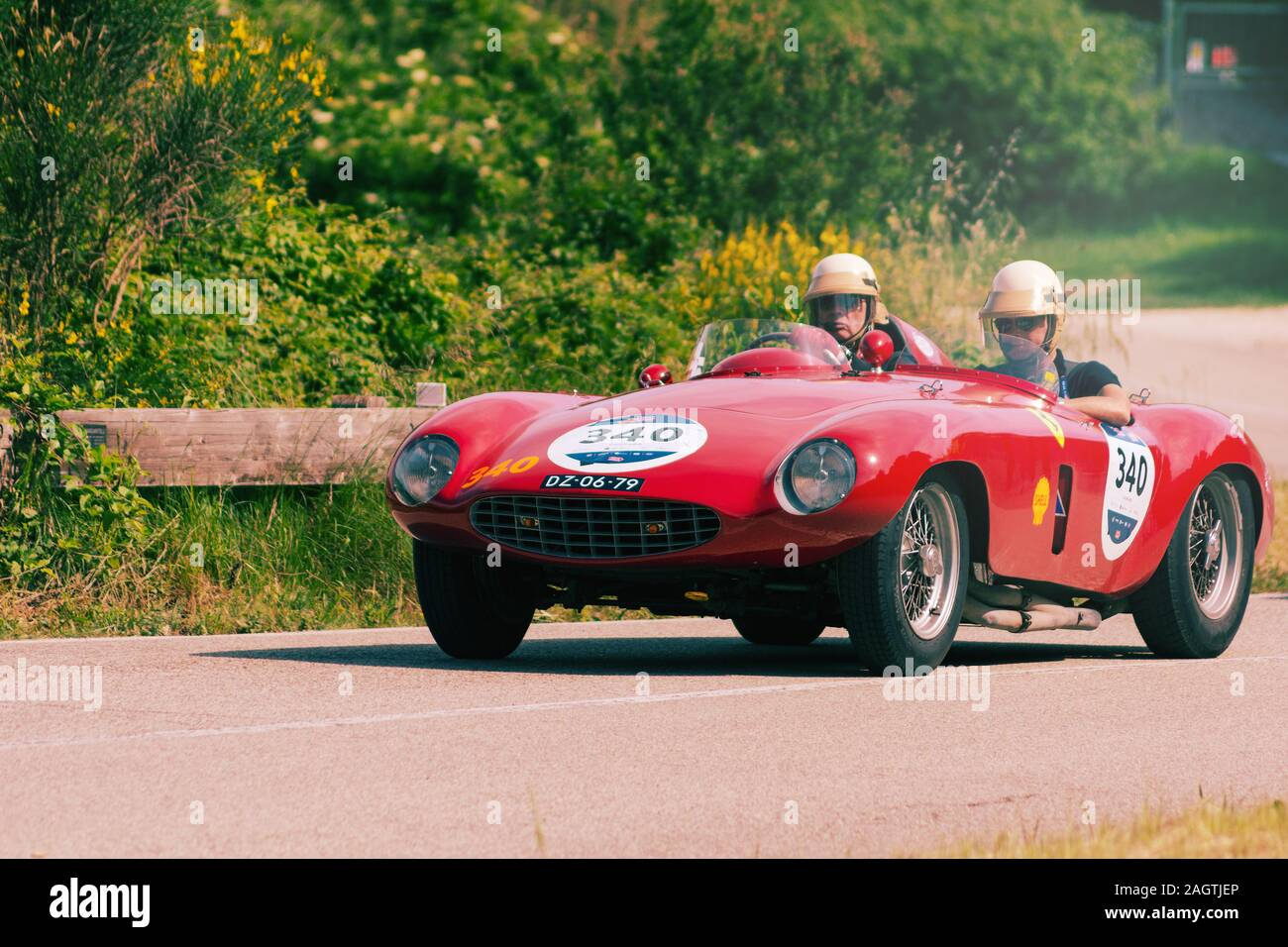 Pesaro Colle San Bartolo Italy May 17 2018 Ferrari 750 Monza Spider Scaglietti 1954 On An Old Racing Car In Rally Mille Miglia 2018 The Famous Stock Photo Alamy