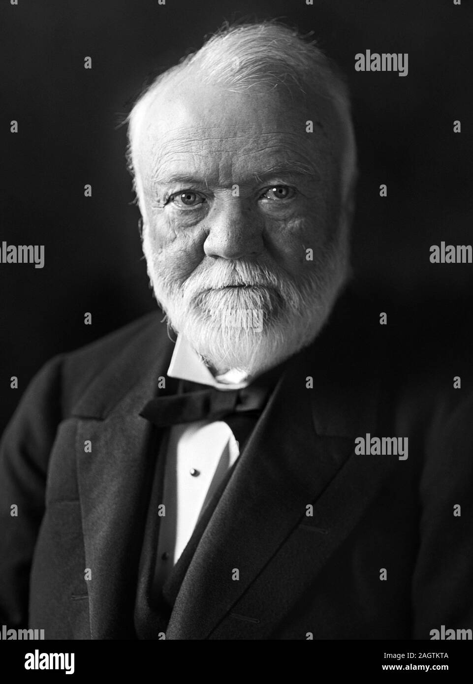 Vintage portrait photo of Scottish-American industrialist and philanthropist Andrew Carnegie (1835 – 1919). Photo circa 1910 by Harris & Ewing. Stock Photo