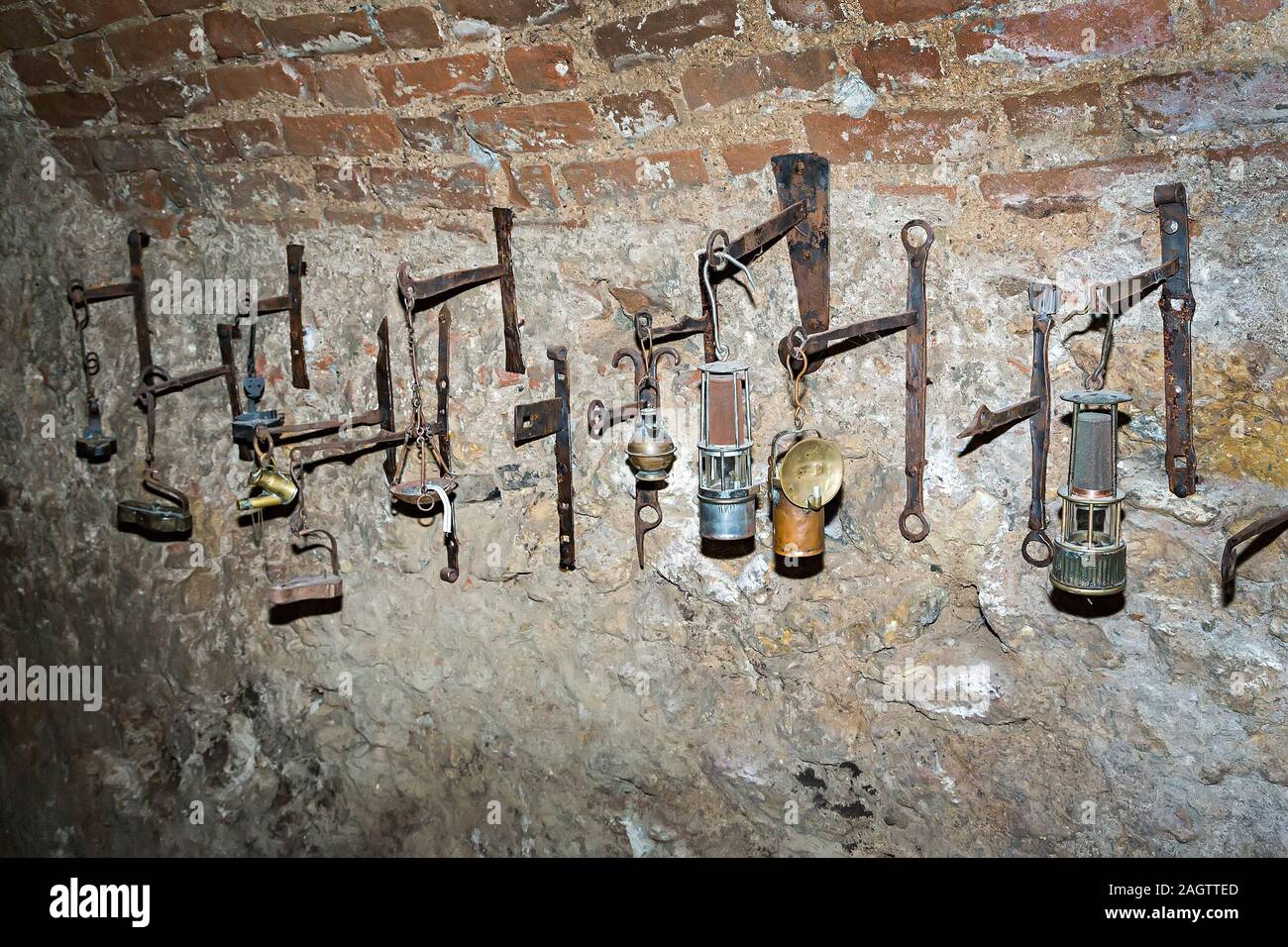 Lamp exhibit in the Labyrinth underground tunnels, Brno, Czech Republic Stock Photo