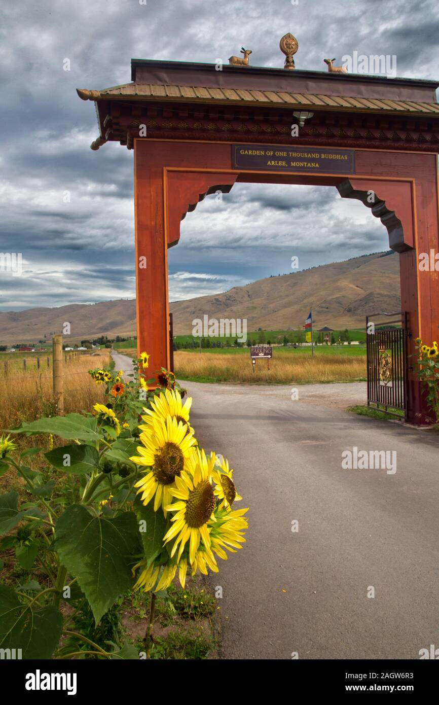 Views of the Garden of One THousand Buddhas in western Montana Stock Photo