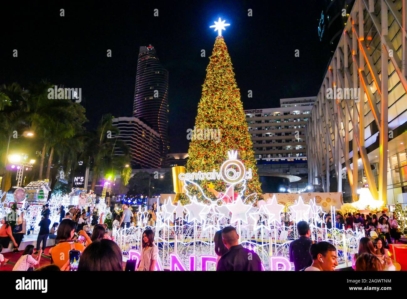 Bangkok Thailand December 13 2019 Merry Christmas And Happy New Year 2020 Event Is Showing A Centralworld The Popular And Large Shopping Mall In Stock Photo Alamy