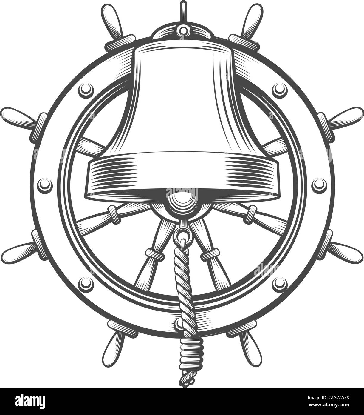 Nautical Emblem With Ship Bell And Steering Wheel In Engraving Style Vector Illustration Stock Vector Image Art Alamy
