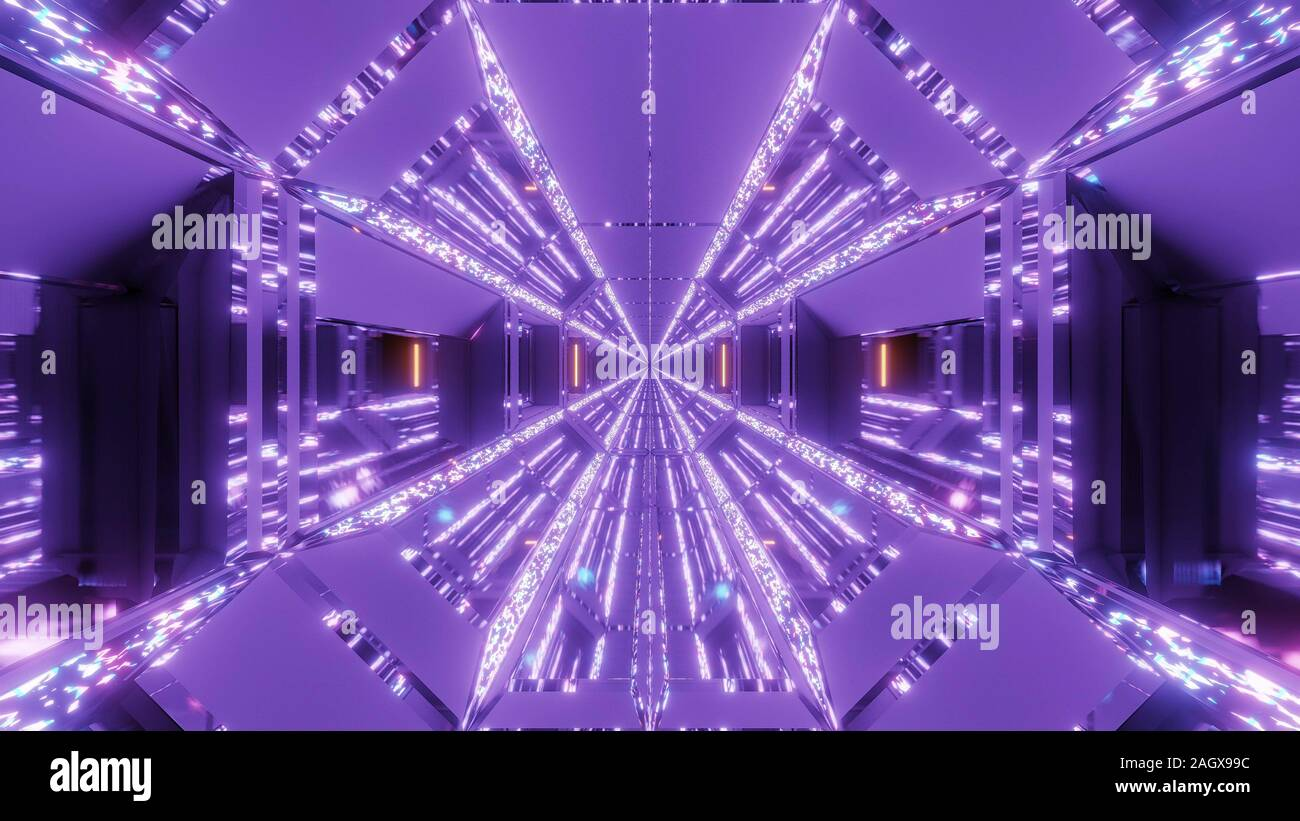 futuristic sci fi hangar tunnel corridor with glitter glowing diamands christmas texture 3d rendering background wallpaper graphic 2AGX99C