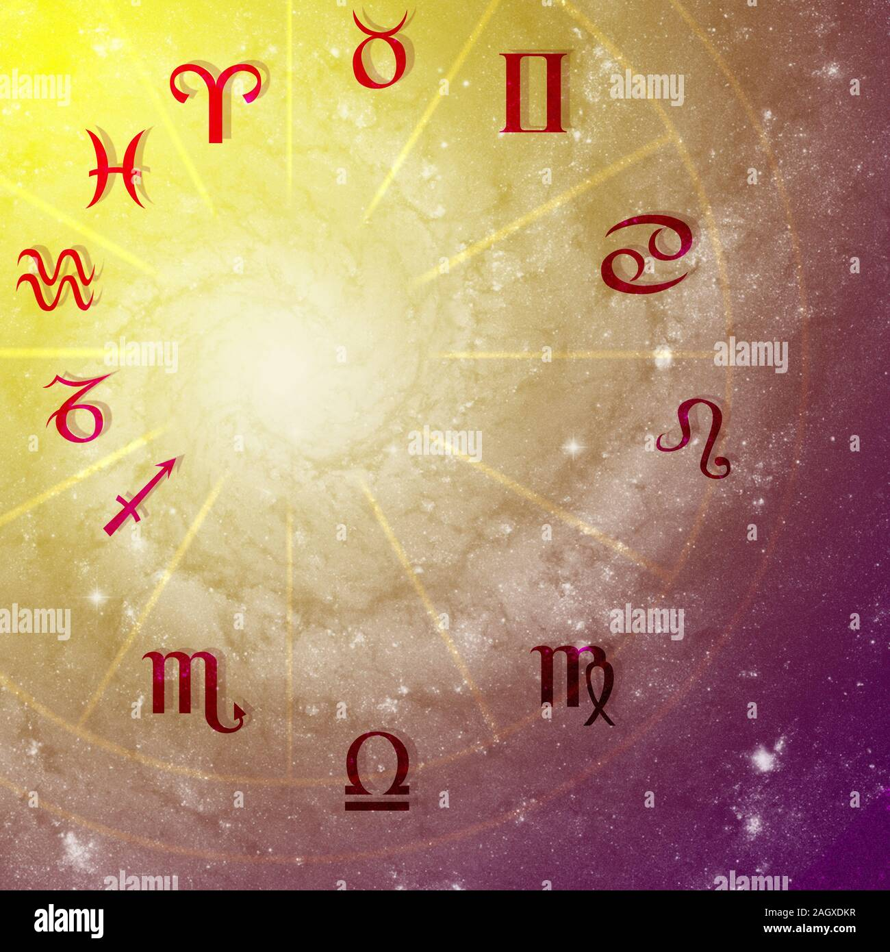 Illustration Of Astrology Themes Twelve Signs Of The Zodiac On Bright Abstract Background Space For Text Stock Photo 337412987 Alamy