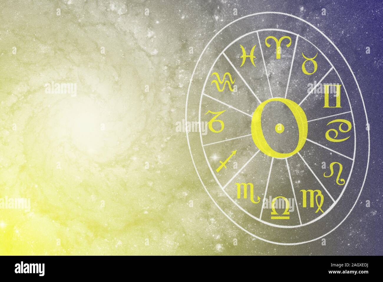 Illustration Of Astrology Themes Twelve Signs Of The Zodiac On Bright Abstract Background Space For Text Stock Photo Alamy