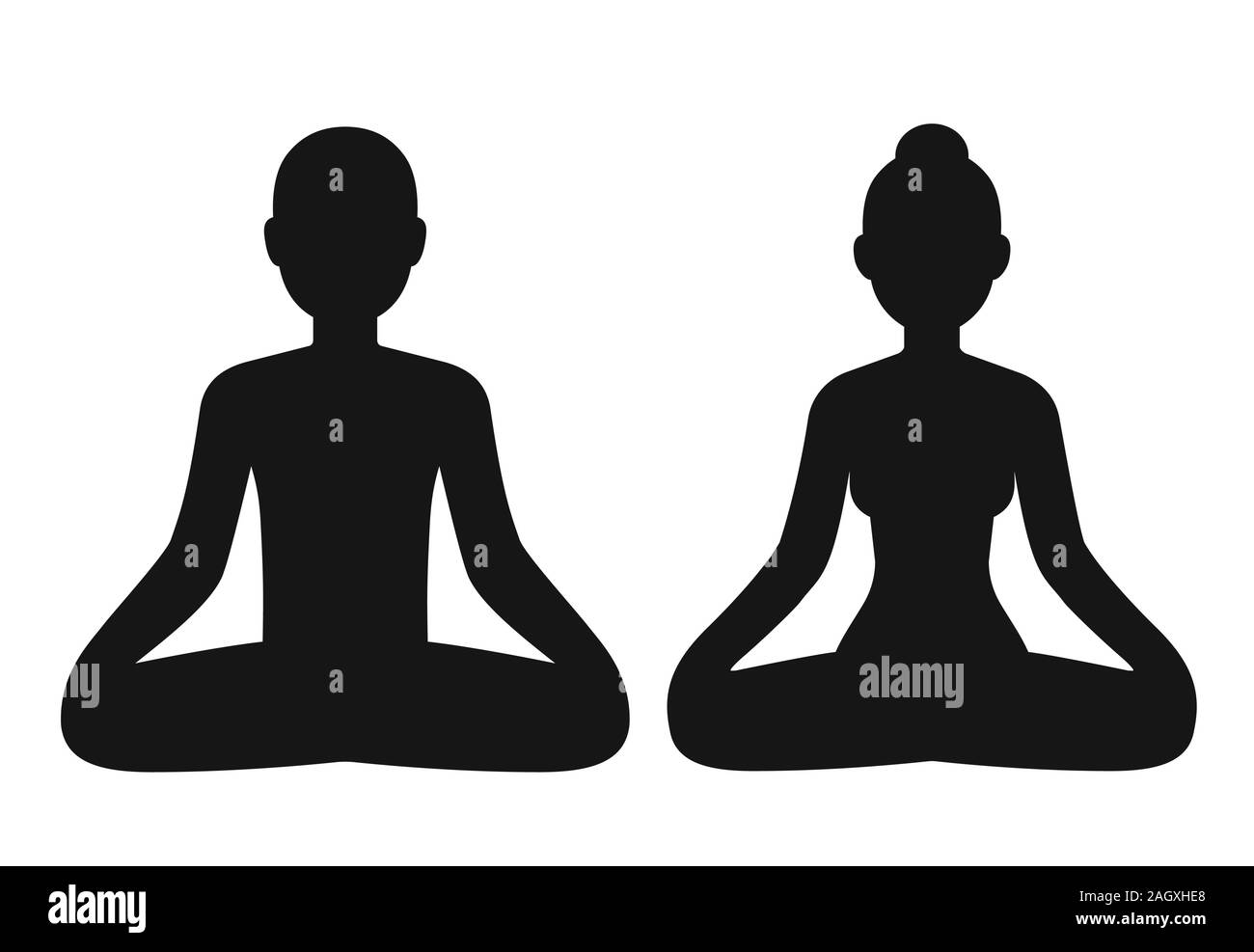 Man And Woman Meditating Sitting In Lotus Pose Stylized Body Shape Silhouette Simple Vector Icons Isolated On White Mindfulness And Meditation Clip Stock Vector Image Art Alamy