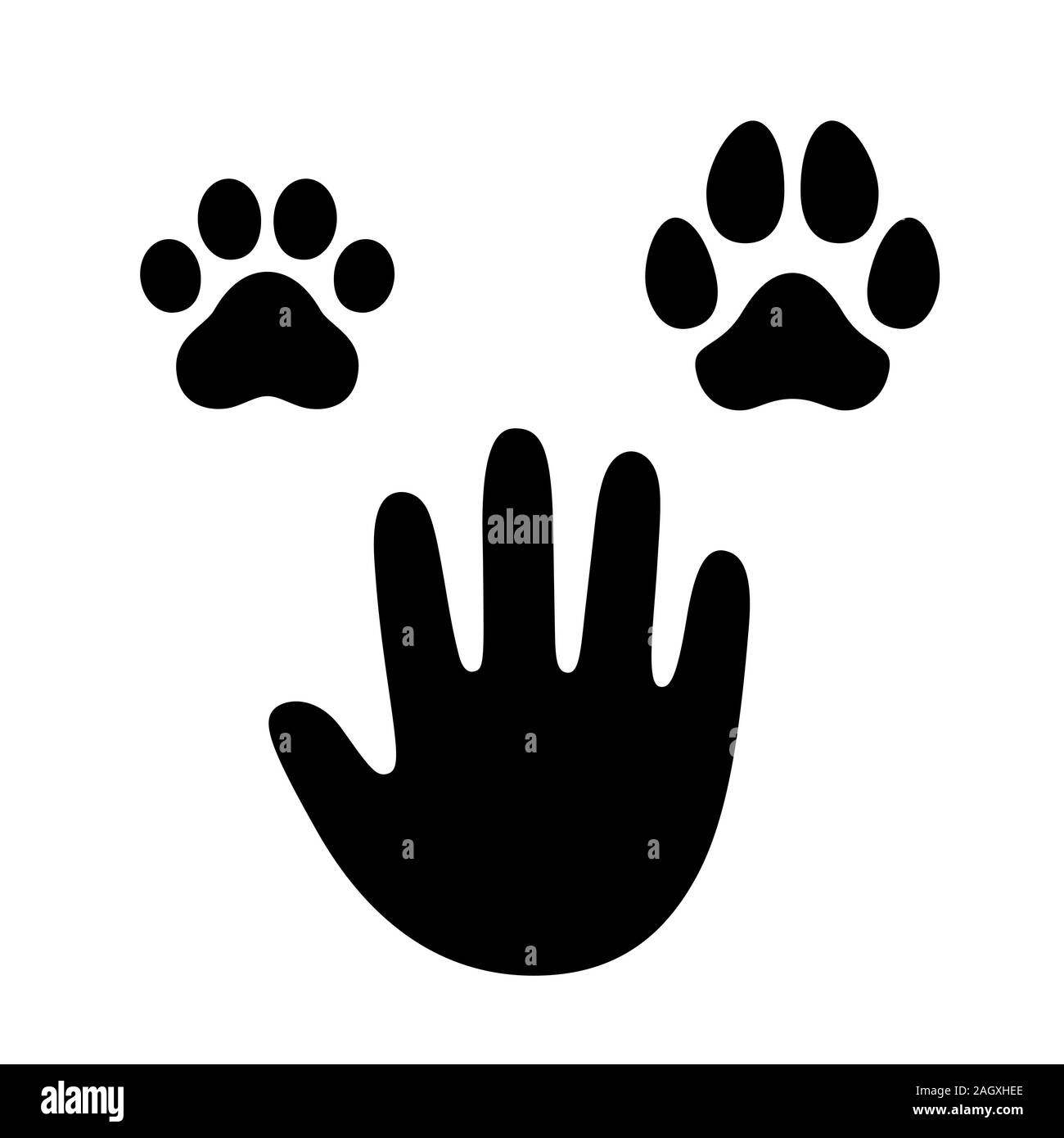 Human Hand Palm With Dog And Cat Paw Print Symbol Simple Cartoon