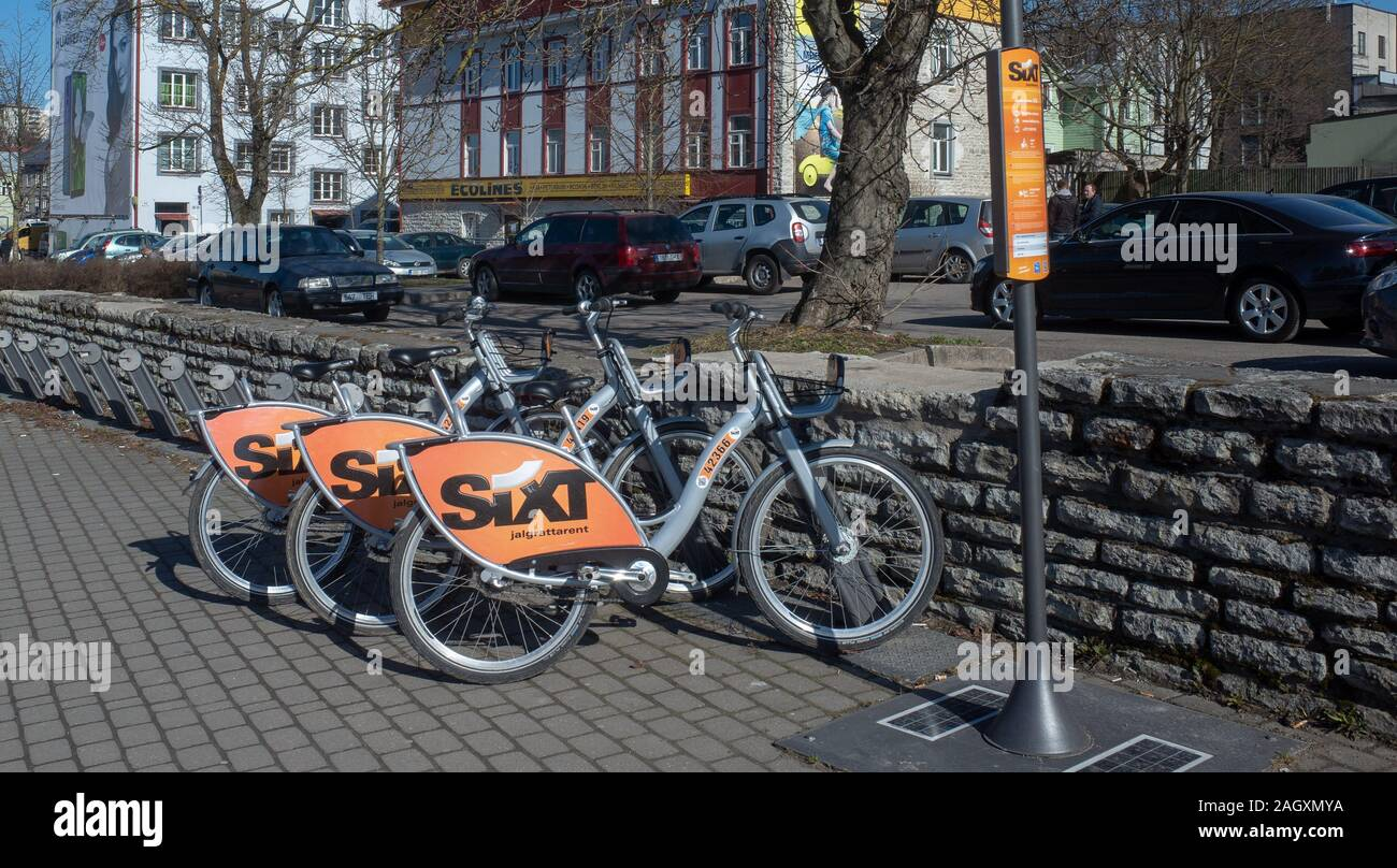 20 April 2019 Tallinn, Estonia. Parking city bikes on one of the streets of the city. Stock Photo