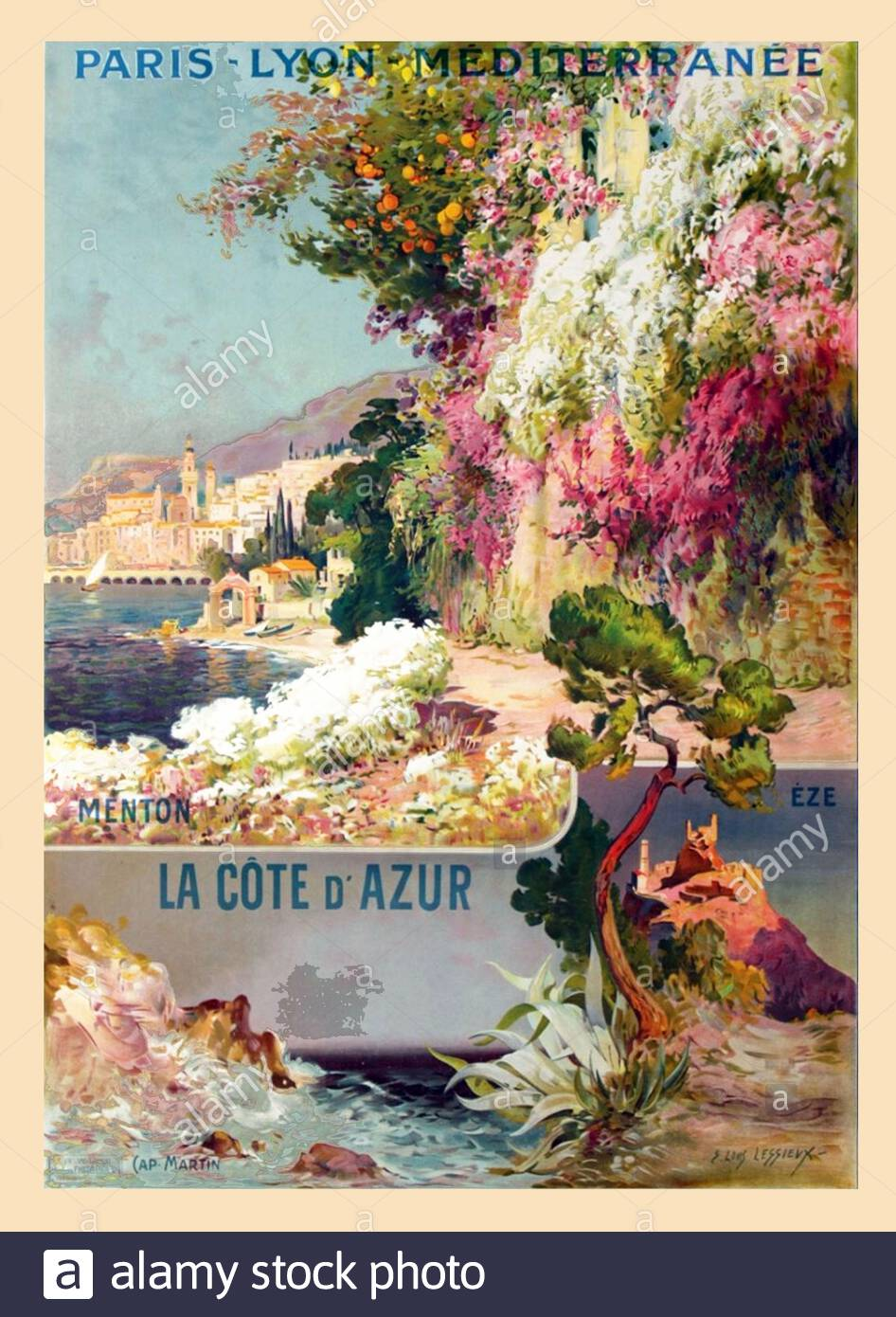 French Travel A3 Print Mediterranee Cote D/' Azur Art Poster Lyon Paris