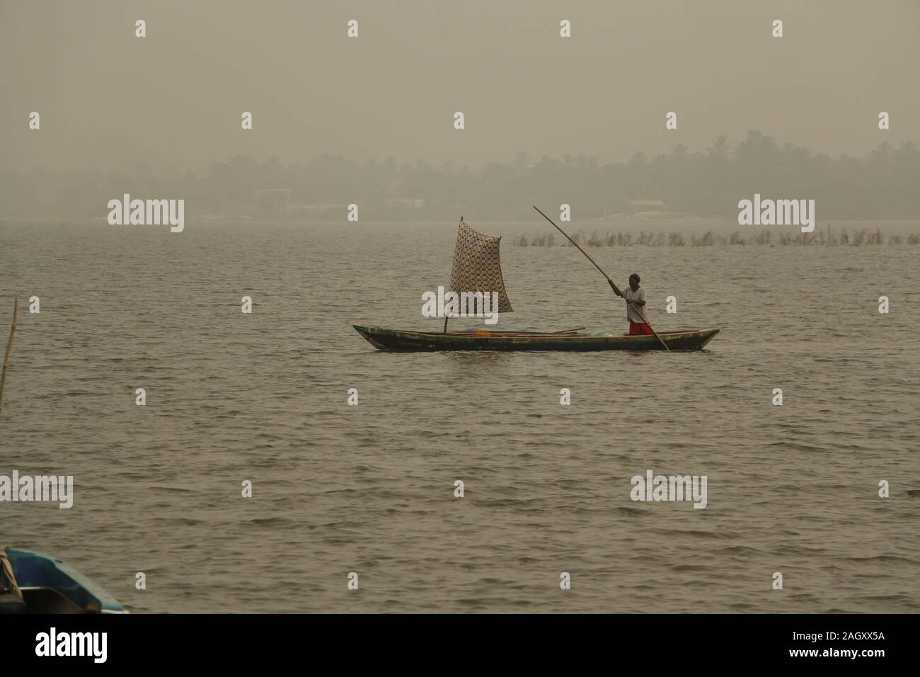 Fisherman on Lake Togo in Togo Stock Photo
