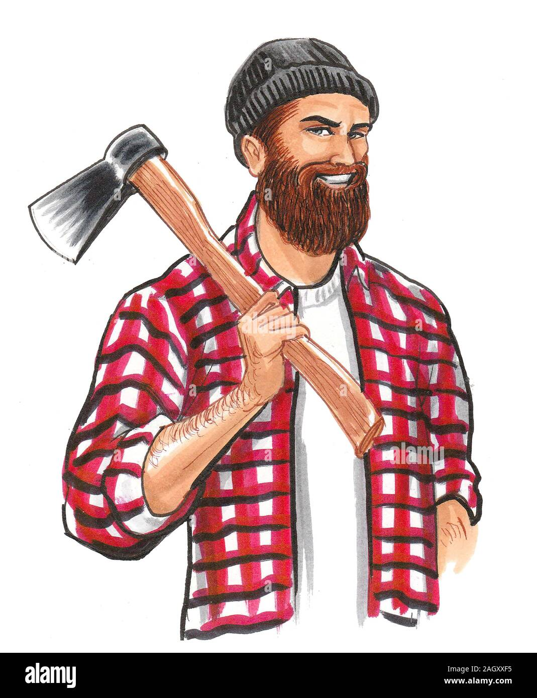 Lumberjack with ax. Ink and watercolor drawing Stock Photo