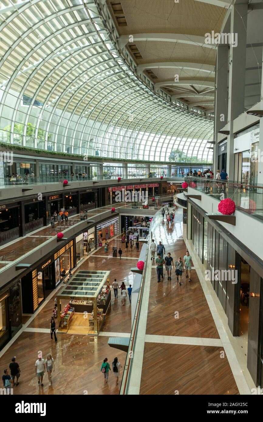 Interior shot of the Marina Bay Sands shopping Mall in Singapore, Asia Stock Photo