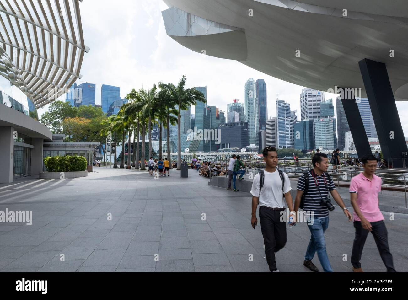 Singapore business skyscrapers viewed from the Marina Bay Sands Shopping Mall Stock Photo