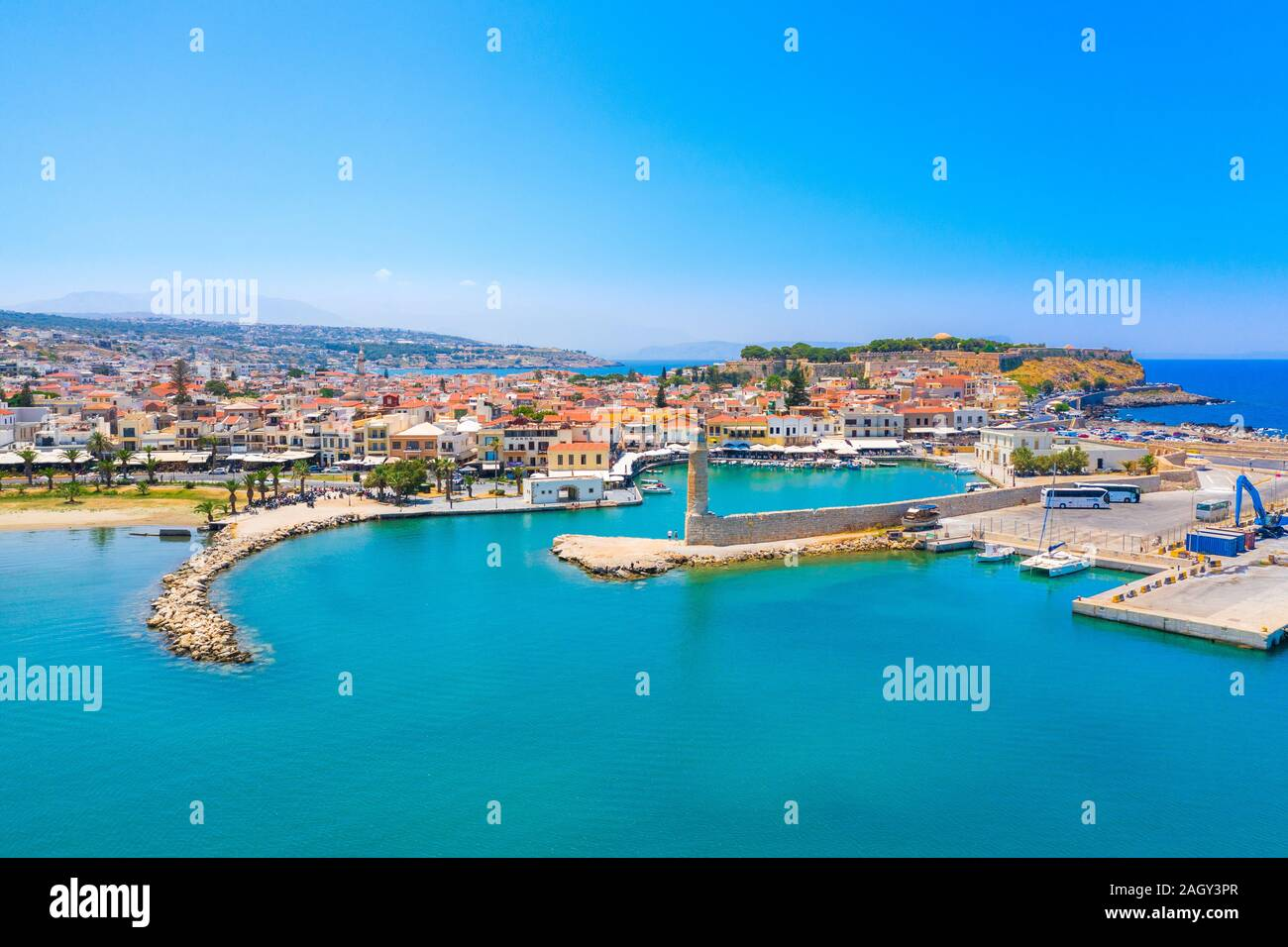Rethimno city with the fortress of Fortezza and lighthouse, Crete, Greece. Stock Photo