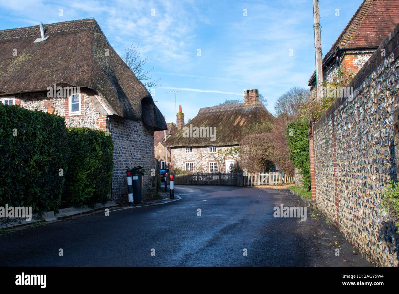 View of Thatched Cottages in the old traditional English village of Singleton UK. Stock Photo