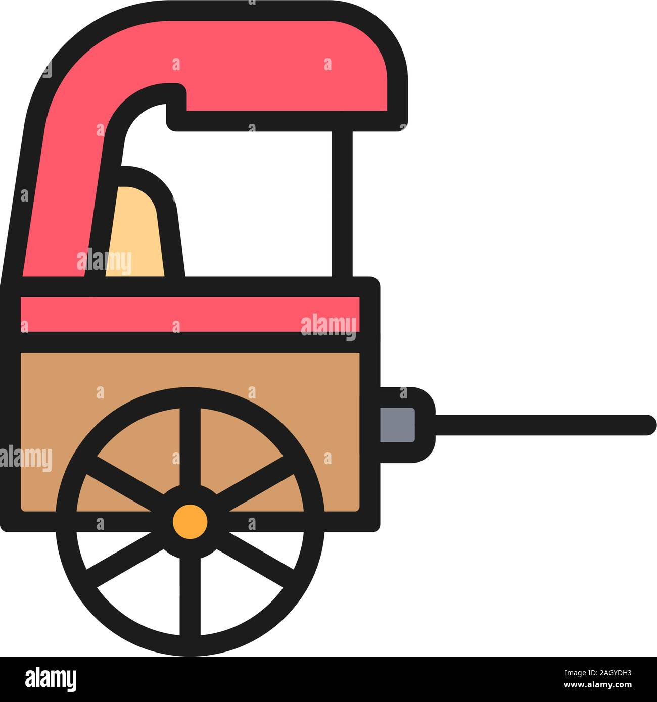 Vector rickshaw, traditional chinese taxi flat color line icon. Stock Vector