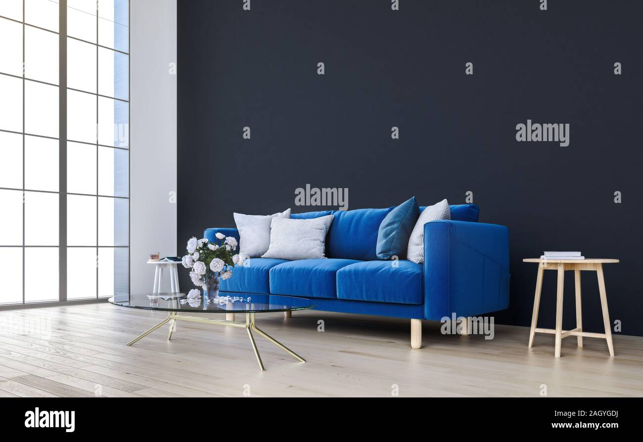 Mock Up Wall With Royal Blue Sofa In Modern Interior Background