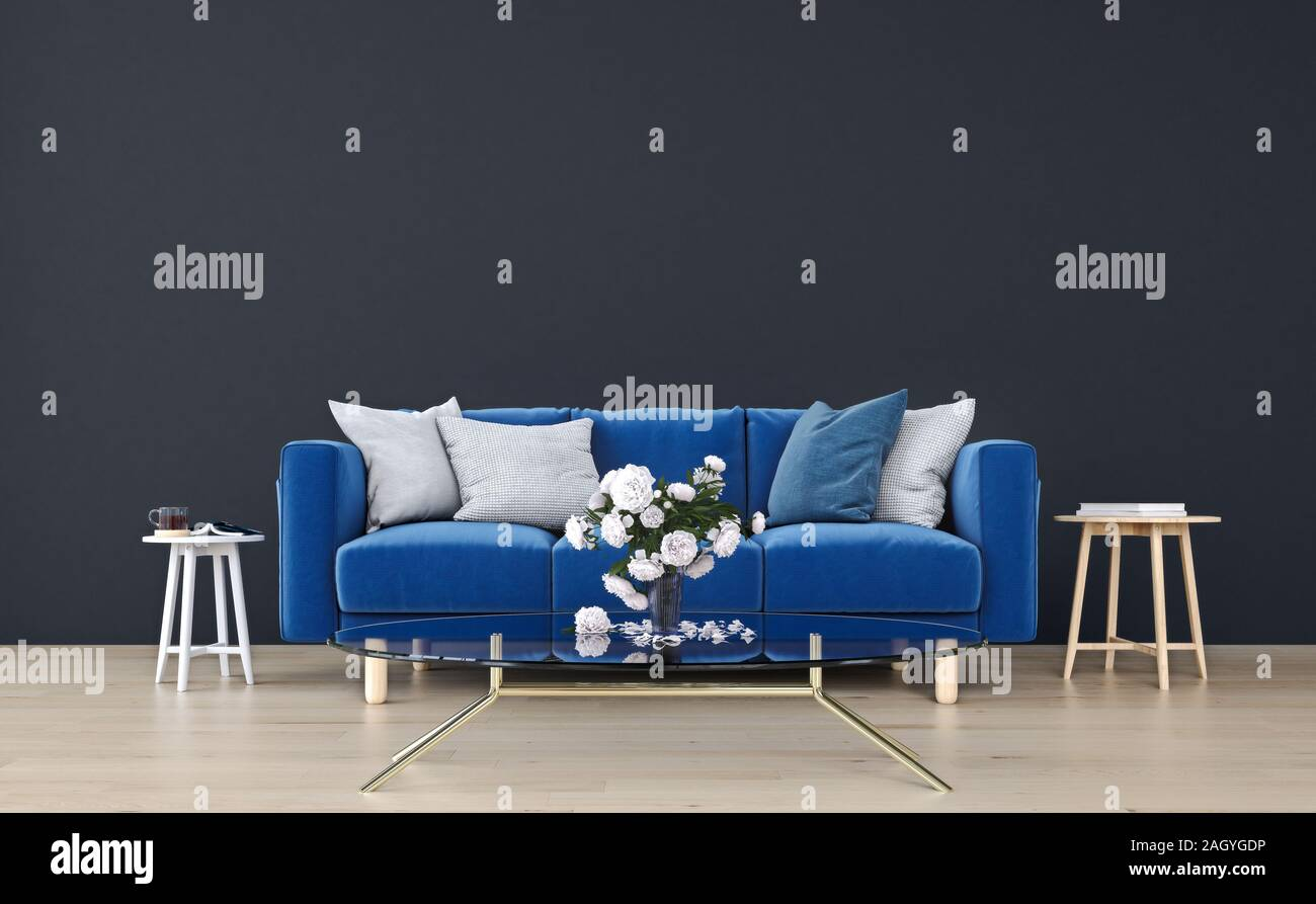 Mock Up Wall With Royal Blue Sofa In Modern Interior Background Living Room Scandinavian Style 3d Render 3d Illustration Stock Photo Alamy