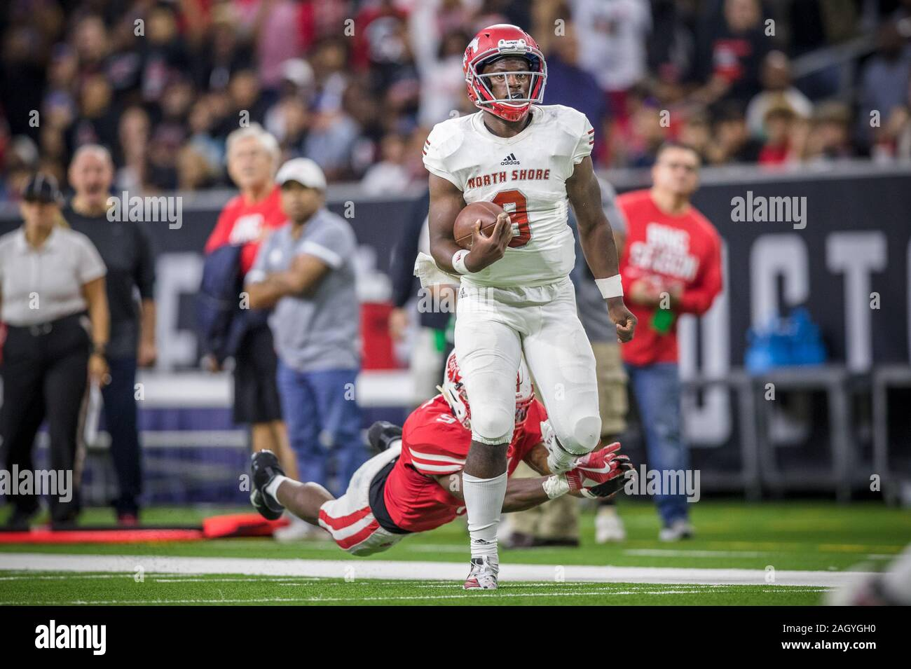 Houston Texas Usa 29th Nov 2019 Galena Park North Shore Mustangs Quarterback Dematrius Davis 9 Runs