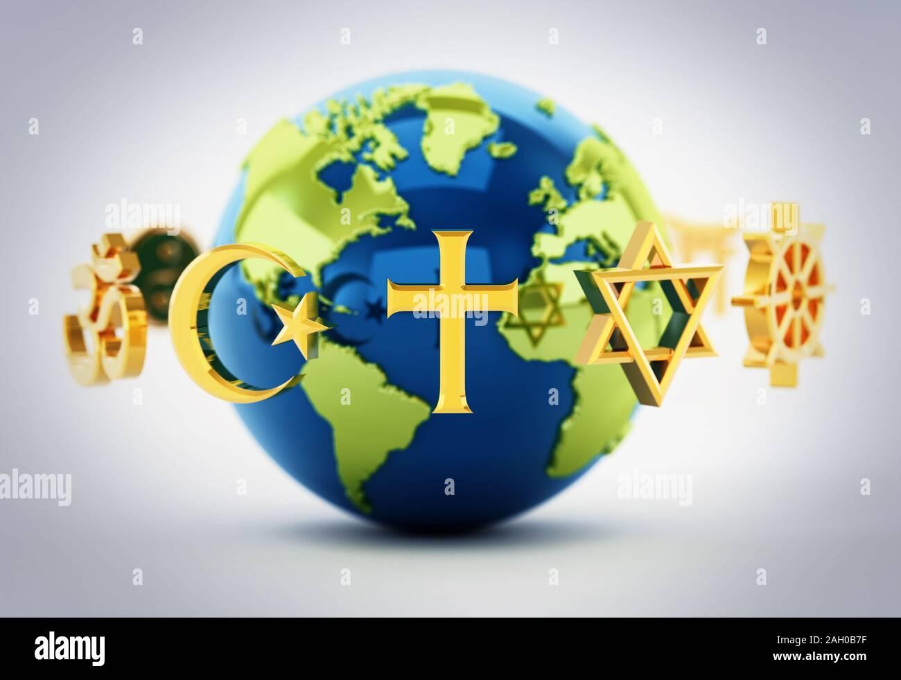 Religion symbols scattered around earth . 3D illustration. Stock Photo