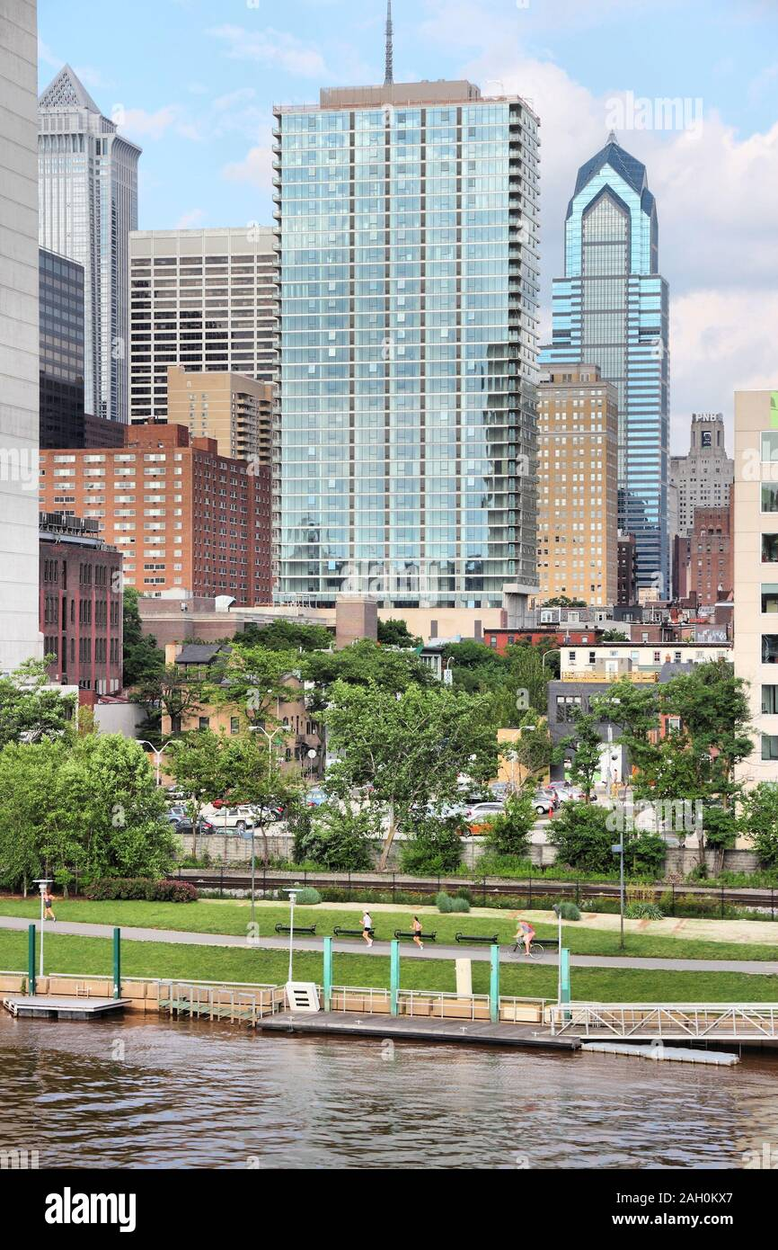 PHILADELPHIA, USA - JUNE 11, 2013: People visit Schuylkill Banks river walk in Philadelphia. As of 2012 Philadelphia is the 5th most populous city in Stock Photo