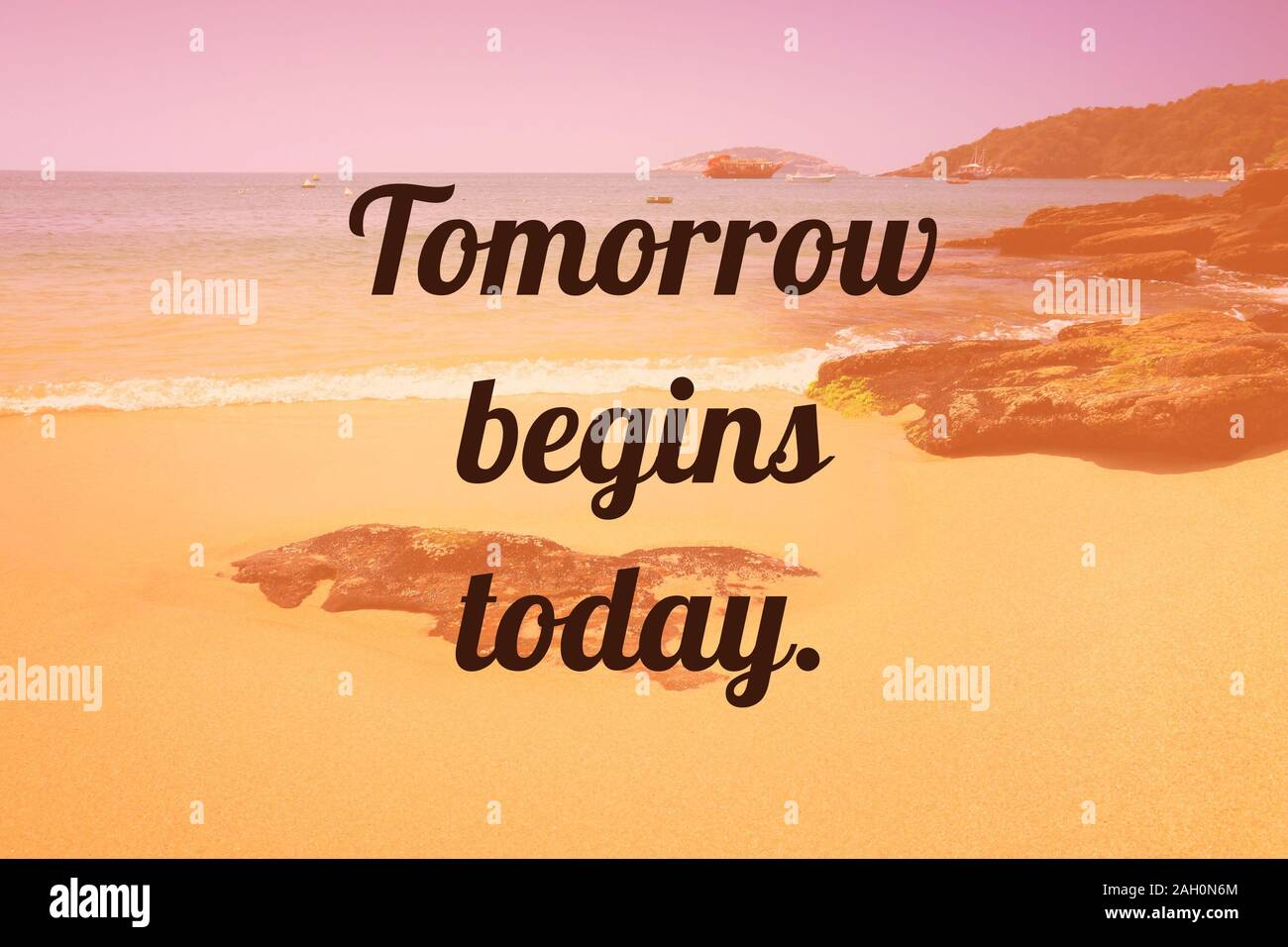 Inspirational Quote Poster Tomorrow Begins Today Success Motivation Stock Photo Alamy
