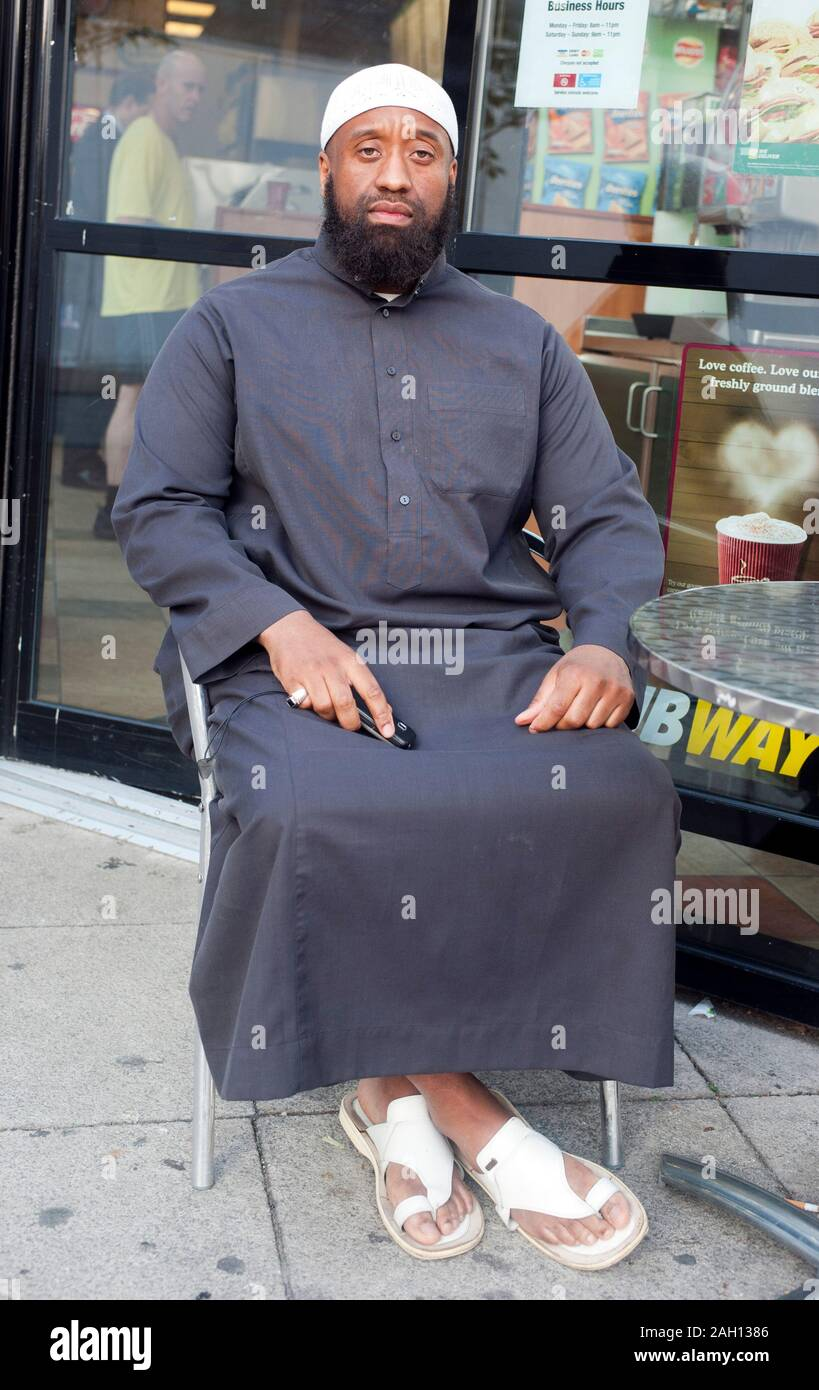 Abu Izzadeen organiser of a protest to introduce Sharia law zones in Walthamstow. Stock Photo
