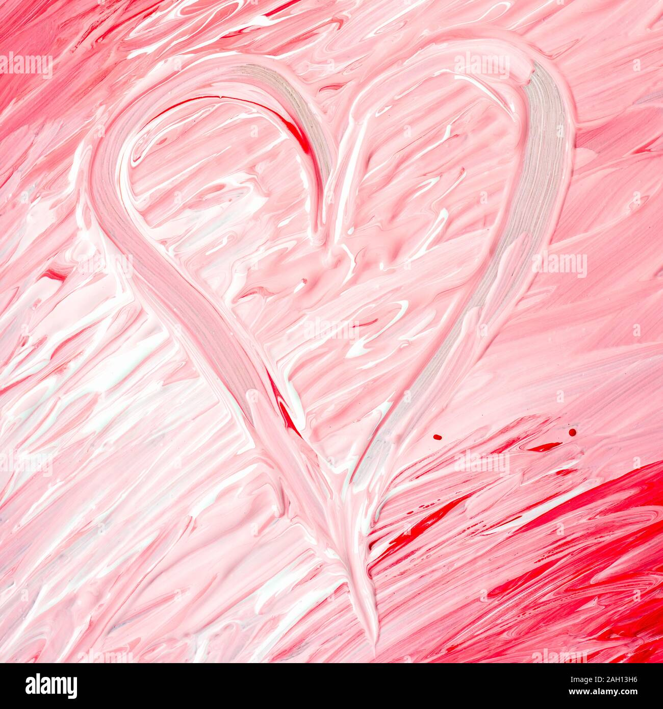 Marble And Liquid Abstract Background With Oil Painting Heart Shape Made With Red Pink And White Color Stock Photo Alamy