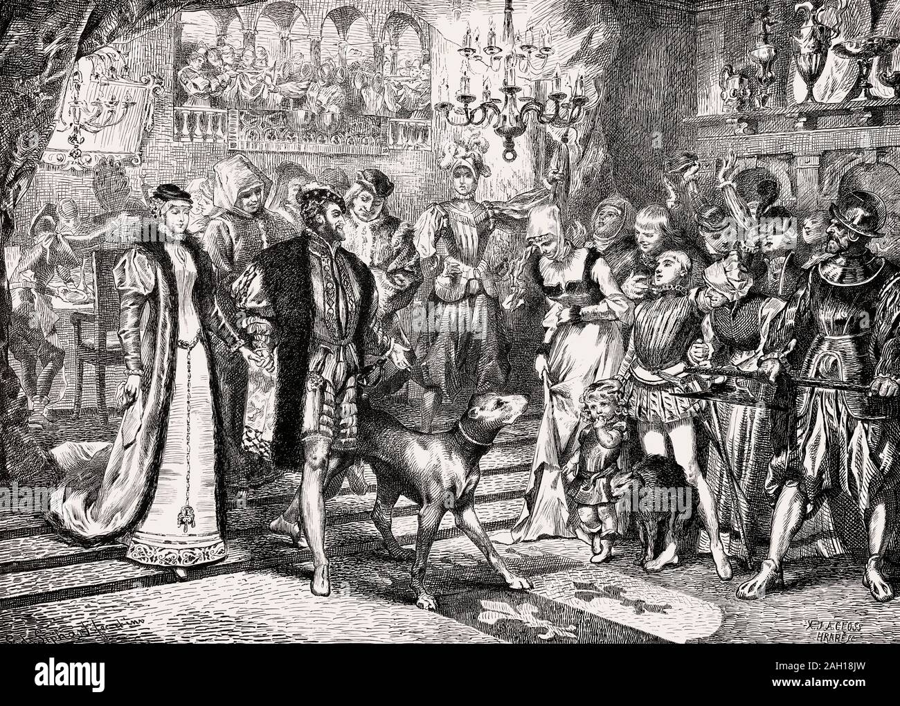 Emperor Charles V at the Fuggers' House, Augsburg 1535 Stock Photo
