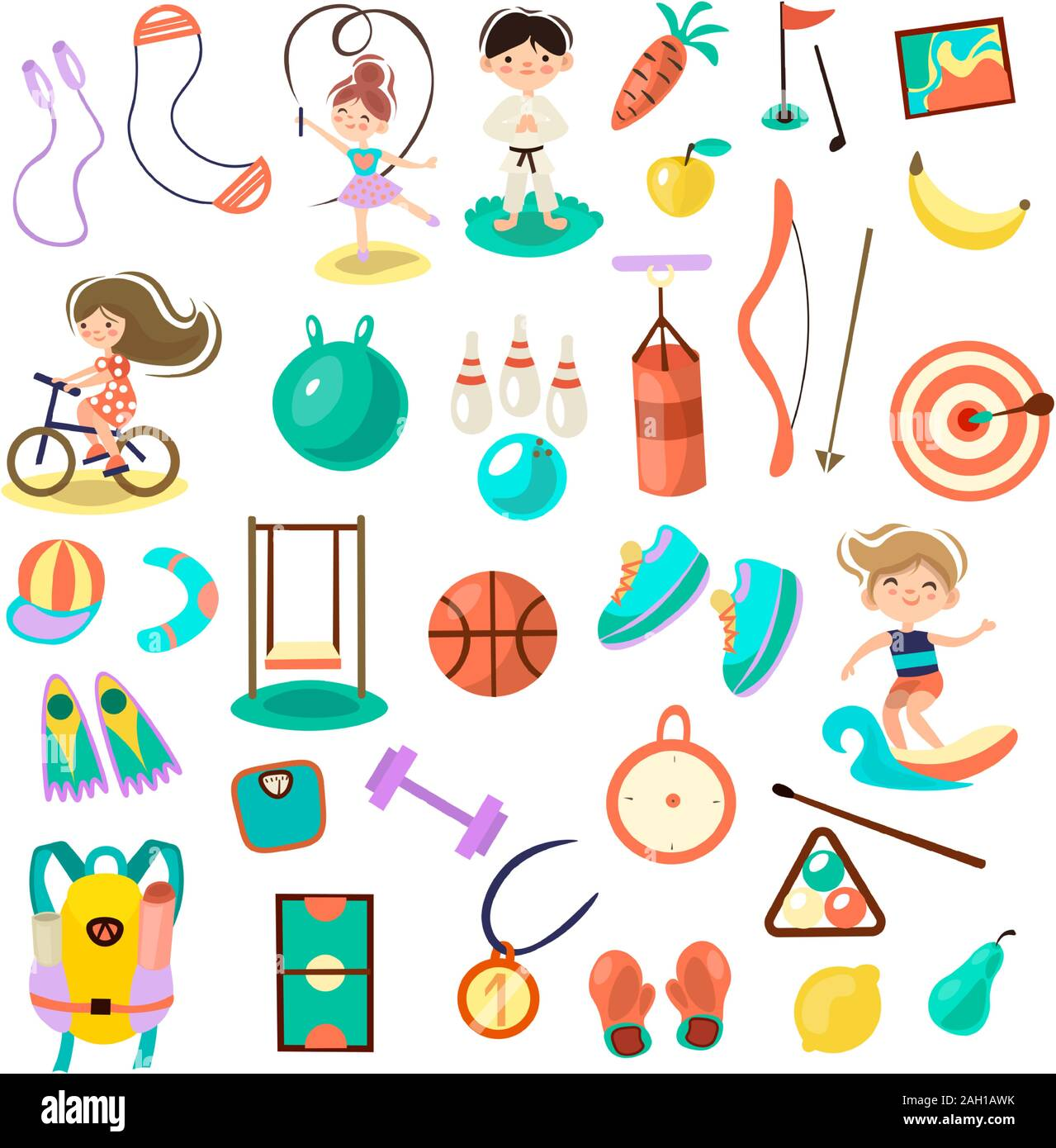 Kids Doing Sport Games Vector Cartoon Illustration Playing Jumping Swimming Boys And Girls With Sports Equipment Balls Sport Games And Summer Stock Vector Image Art Alamy